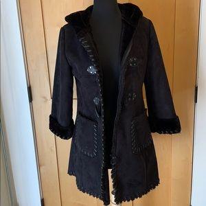 Limited Too Black Suede Modern Duffle Coat